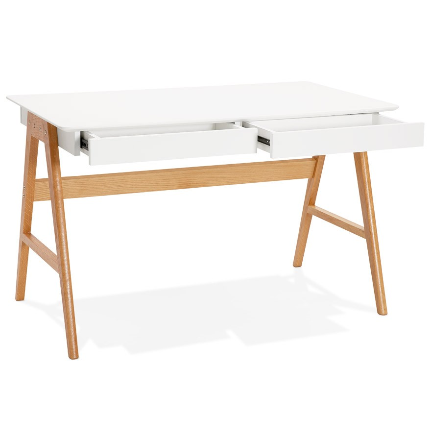 Bureau droit design siroko blanc style scandinave 120x70 cm for Bureau design 3 suisses