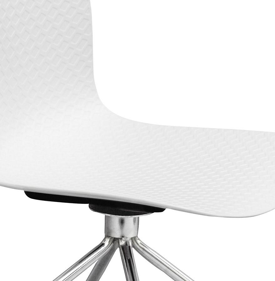 Chaise design de bureau slik blanche sur roulettes - Chaise de bureau blanche design ...