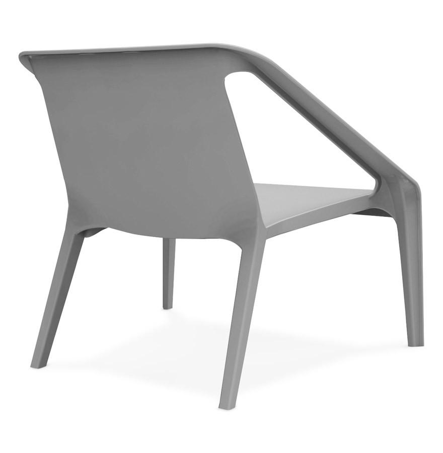 Fauteuil lounge de jardin sunny gris en mati re plastique for Fauteuil jardin plastique gris