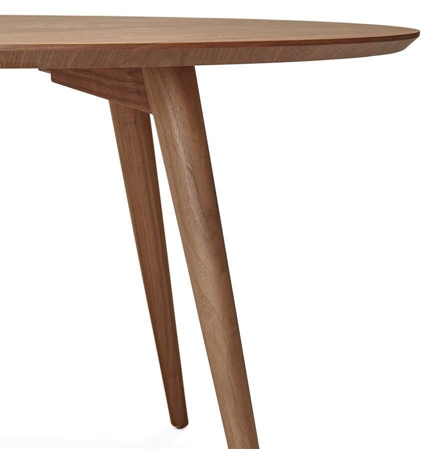 Table à dîner ronde SWEDY en bois Noyer style scandinave