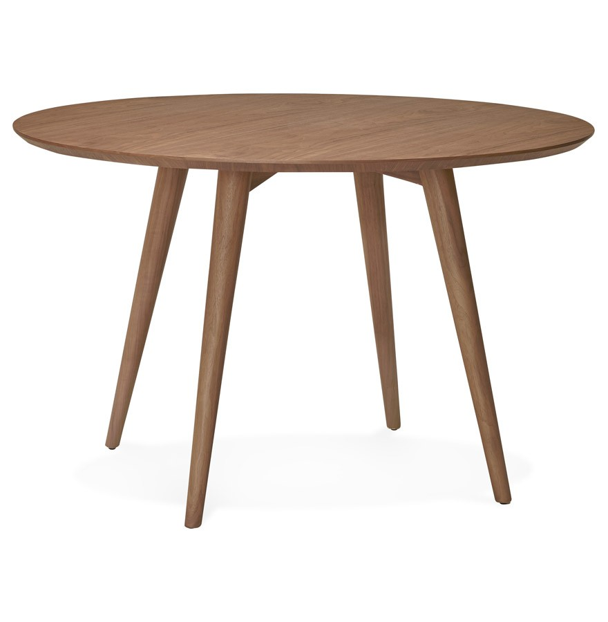 Table d ner ronde swedy en bois noyer style scandinave for Table ronde style scandinave