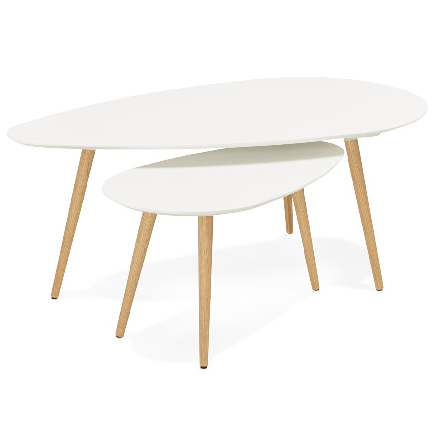 Tables gigognes design tetrys blanches table d 39 appoint Table ronde scandinave blanche