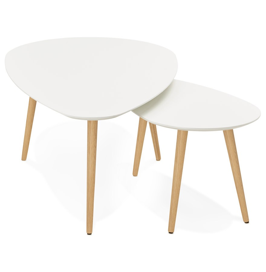 Tables gigognes design TETRYS blanches - Table d\'appoint