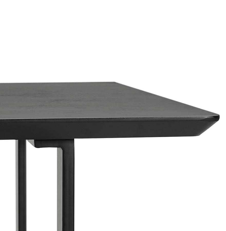 Table design titus en bois noir bureau moderne 150x70 cm for Table bureau design