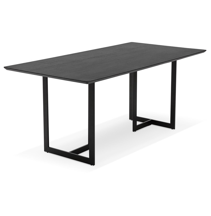Table design titus en bois noir bureau moderne 180x90 cm for Table bureau