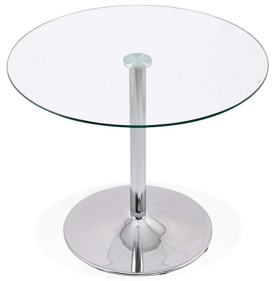 Petite table de cuisine ronde youpi en verre 90 cm for Petit neon de cuisine