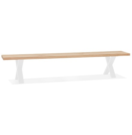 Banc style industriel 'ALEXANDRA BENCH' en bois et métal blanc - 200 CM