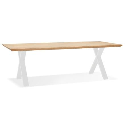Table à diner 'ALEXANDRA' en chêne avec pieds blancs - 260X100 CM