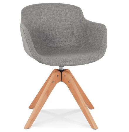 Chaise avec accoudoirs 'AMOS' en tissu gris et pieds en bois naturel