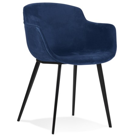 Chaise avec accoudoirs 'ARMADA' en velours bleu