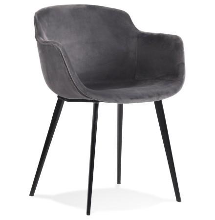 Chaise avec accoudoirs 'ARMADA' en velours gris