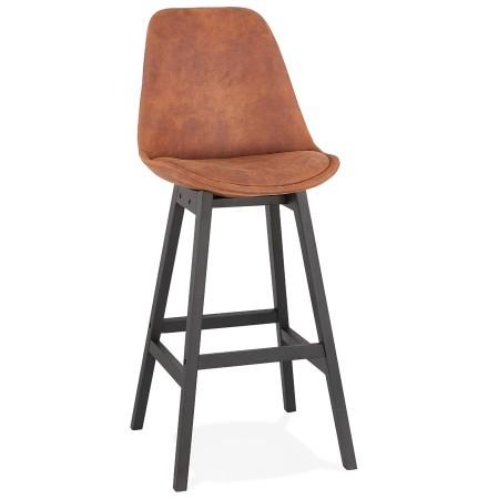 Tabouret de bar 'ASPEN' en microfibre brune et pieds en bois noir