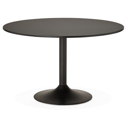 Table de bureau/à diner ronde ATLANTA noire 120 cm - Photo 1