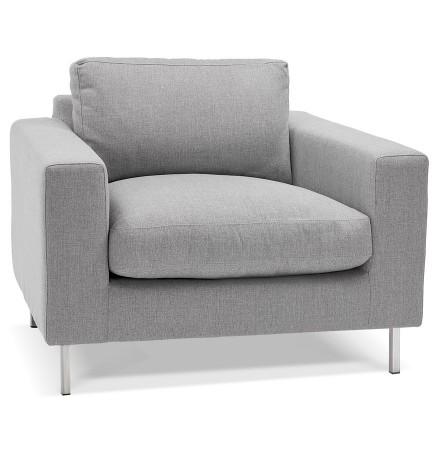 Fauteuil de salon 1 place moderne 'AUGUSTIN MINI' en tissu gris clair
