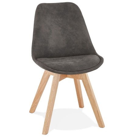 Chaise en microfibre grise 'AXEL' avec structure en bois finition naturelle