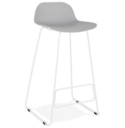 Tabouret de bar design 'BABYLOS' gris avec pieds en métal blanc
