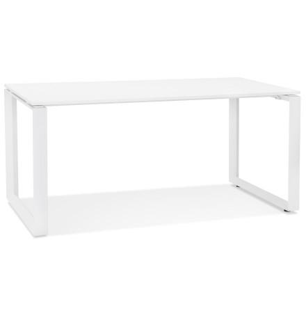 Bureau droit design 'BAKUS' en bois et métal blanc - 160x80 cm