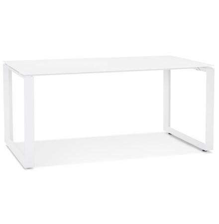 Bureau droit design 'BAKUS' en verre et métal blanc - 160x80 cm