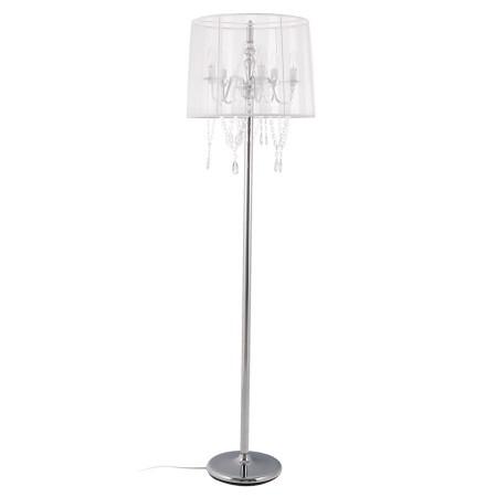 Lampadaire chandelier baroque 'BAROK' à pampilles tissu blanc
