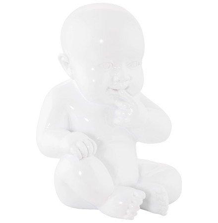 Statue déco 'BABY' bébé assis en polyrésine blanche