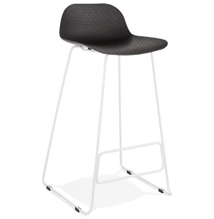 Tabouret de bar design 'BABYLOS' noir avec pieds en métal blanc