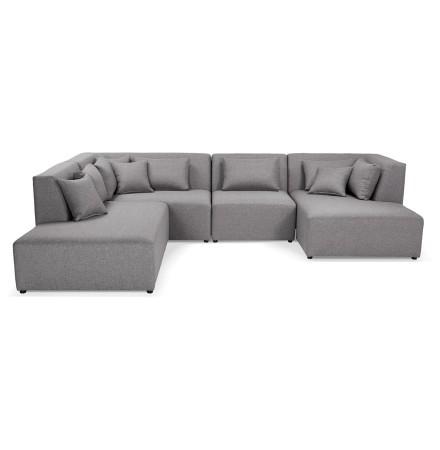 Canapé en U avec méridienne 'BELAGIO U SHAPE' gris clair - canapé modulable (angle à gauche)