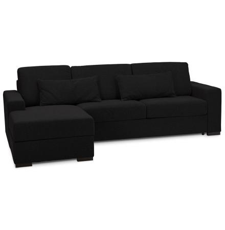 Canapé d'angle convertible 'BELGO L SHAPE' en tissu noir (angle à gauche)