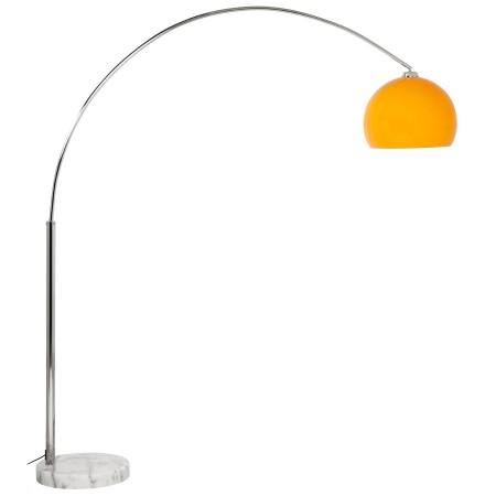 Lampadaire design en arc 'BIG BOW XL' abat-jour orange