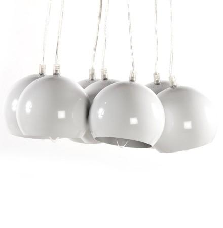 Suspension design 'BILBO' 7 boules blanches suspendues