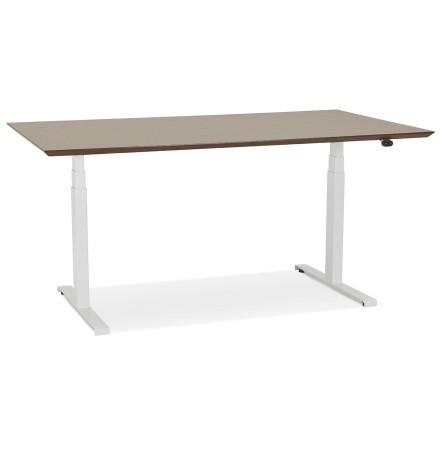 Bureau assis-debout électrique 'BIONIK'avec plateau en bois finition Noyer et pied en métal blanc - 150x70 cm