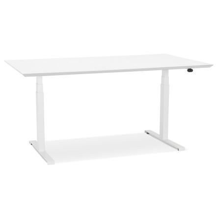 Bureau assis-debout électrique 'BIONIK'avec plateau en bois et métal blanc - 150x70 cm