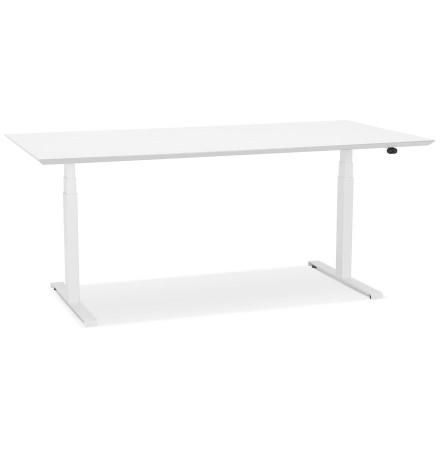 Bureau assis-debout électrique 'BIONIK'avec plateau en bois et métal blanc - 180x90 cm