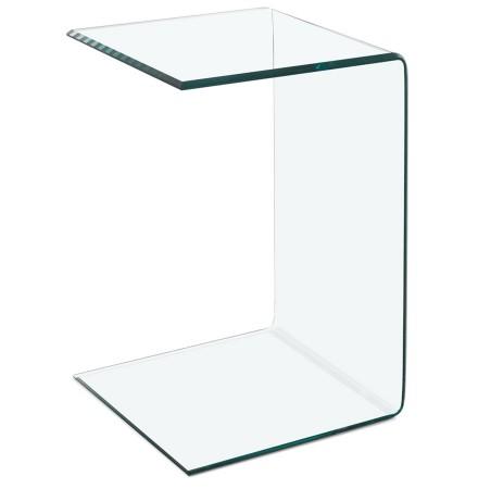Bout de canapé / Table d'appoint 'BOBBY U SHAPE' en verre transparent