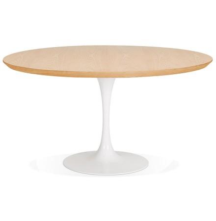Table de salle à manger ronde 'BRIK' en bois finition naturelle et pied central en métal blanc - Ø 140 cm
