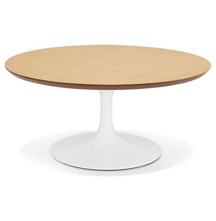 Table basse de salon ronde 'BUSTER MINI' en bois finition naturelle et pied en métal blanc - Ø 90 cm