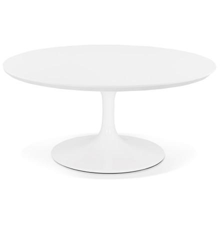 Table basse de salon ronde 'BUSTER MINI' en bois et métal blanc - Ø 90 cm