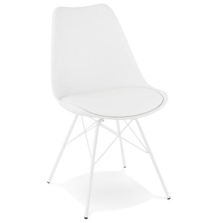 Chaise design 'BYBLOS' blanche style industriel