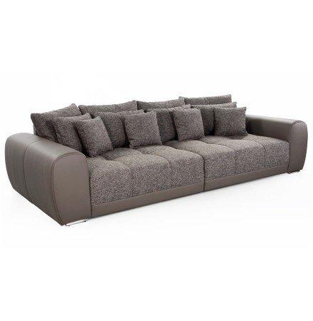 Grand canapé droit 'BYOUTY' taupe 4 places en matière synthétique et tissu