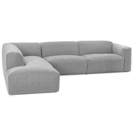 Grand canapé d'angle 'CANYON LOUNGE' en tissu gris (angle à gauche)