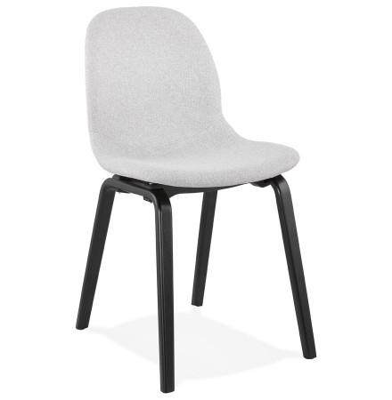 Chaise de salle à manger 'CELTIK' en tissu gris clair et pieds en bois noir