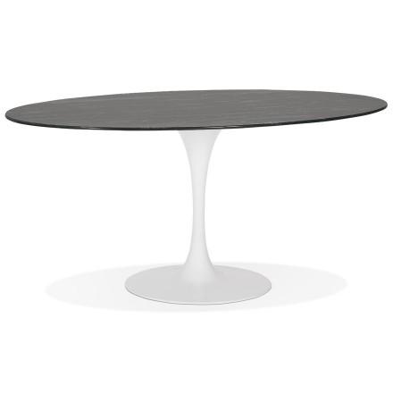Table à manger 'CHAMAN' ovale en verre noir effet marbre et pied central blanc - 160x105 cm