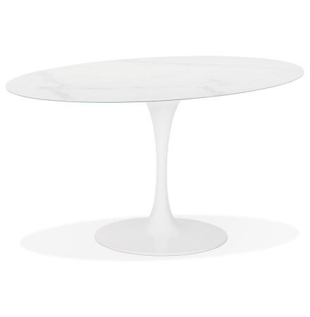 Table à manger design 'CHAMAN' ovale blanche en verre effet marbre - 160x105 cm