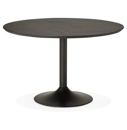Table à diner/de bureau ronde 'CHEF' en bois noir finition Frêne - Ø 120 cm