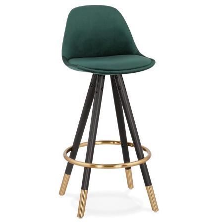 Tabouret snack mi-hauteur design 'CHICAGO MINI' en velours vert et 4 pieds en bois noir