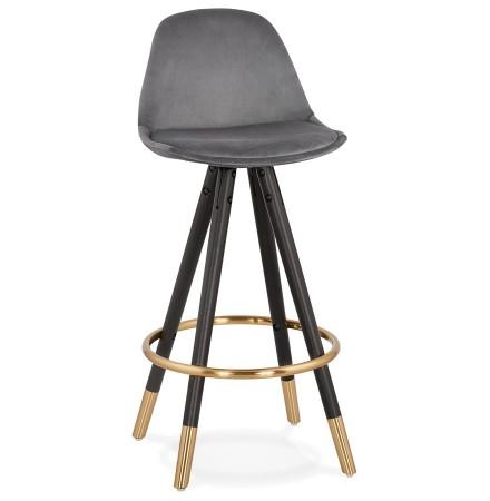 Tabouret snack mi-hauteur design 'CHICAGO MINI' en velours gris et 4 pieds en bois noir