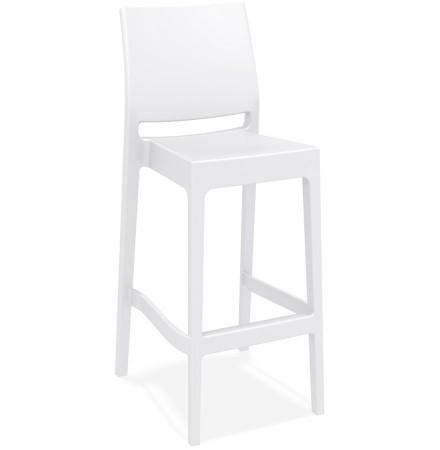 Tabouret de bar 'CLARA' blanc intérieur / extérieur empilable