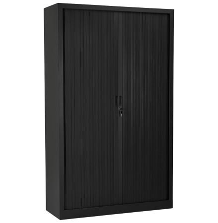 Armoire de bureau haute à rideaux 'CLASSIFY' noire - 198x120 cm