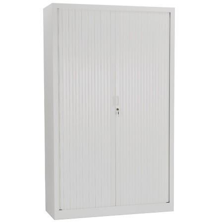 Armoire de bureau haute à rideaux 'CLASSIFY' grise - 198x120 cm