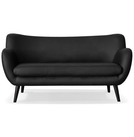 Canapé droit 3 places 'COLETTE' en matière synthétique noire