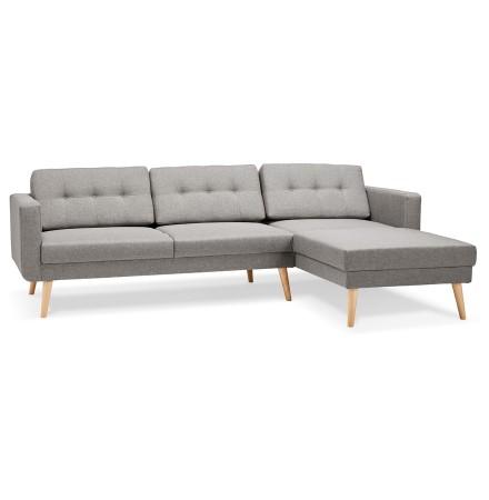 Canapé d'angle 'COLONEL' gris clair avec méridienne (angle à droite)